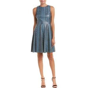 NWT Rebecca Taylor Snake Print Blue A Line Dress 0